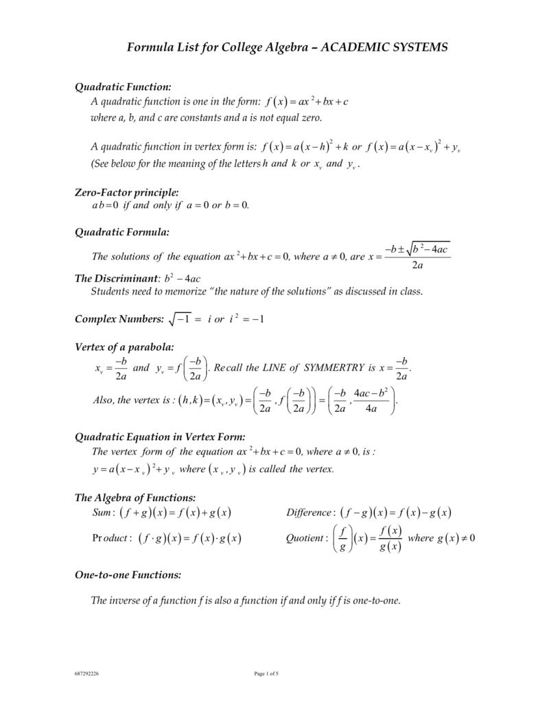 academic systems formula list