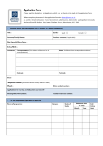 MMU direct application form - Manchester Metropolitan University