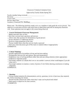 Peer Classroom Visitation Evaluation Form