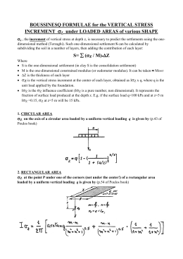 Boussinesq formulae for the vertical stress increment Sigmaz