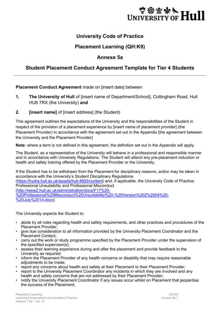 Student Placement Conduct Agreement Template