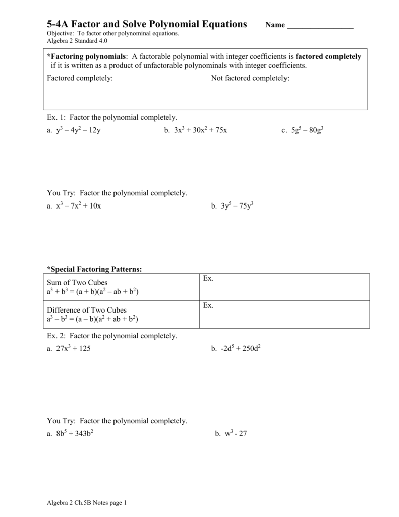 5 4a factor and solve polynomial equations falaconquin