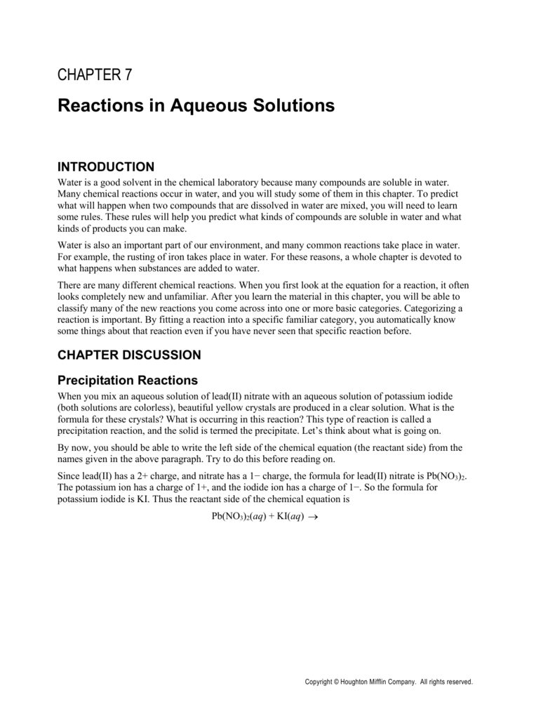 Chapter 7 Cengage Learning – Reactions in Aqueous Solutions Worksheet