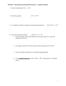 Math 103 – Dealing with Polynomials and Polynomial Functions