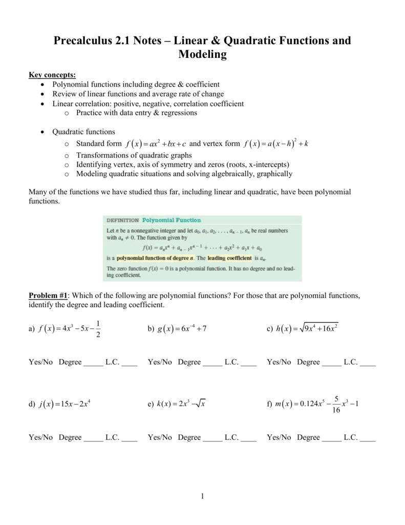 Precalculus 1 - Mercer Island School District