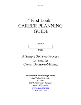 Student Career Planning Guide
