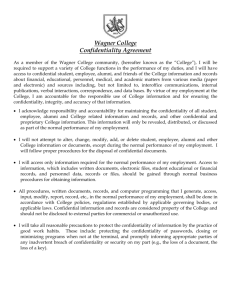 Wagner College Confidentiality Agreement