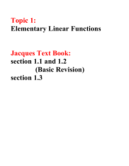 Lecture 1 : Linear Functions