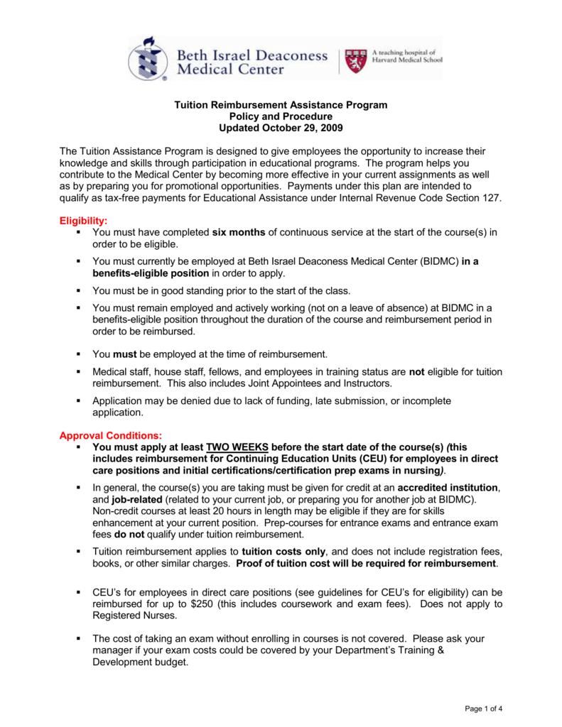 Tuition Reimbursement Policy and Procedure