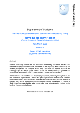 The Fine-Tuning of the Universe: Some Issues n Probability theory