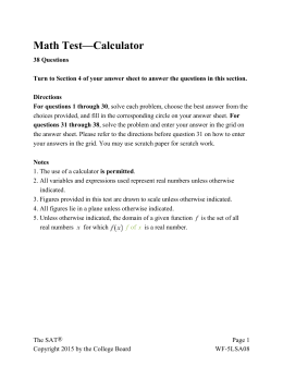 SAT Practice Math Test 3 (Calculator Permitted)