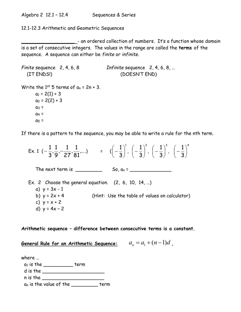 worksheet Arithmetic And Geometric Sequences Worksheet Answers algebra 2 with trig