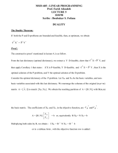 MSIS 685 : LINEAR PROGRAMMING