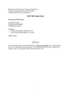 EEE 500 Topic Form - California State University, Sacramento