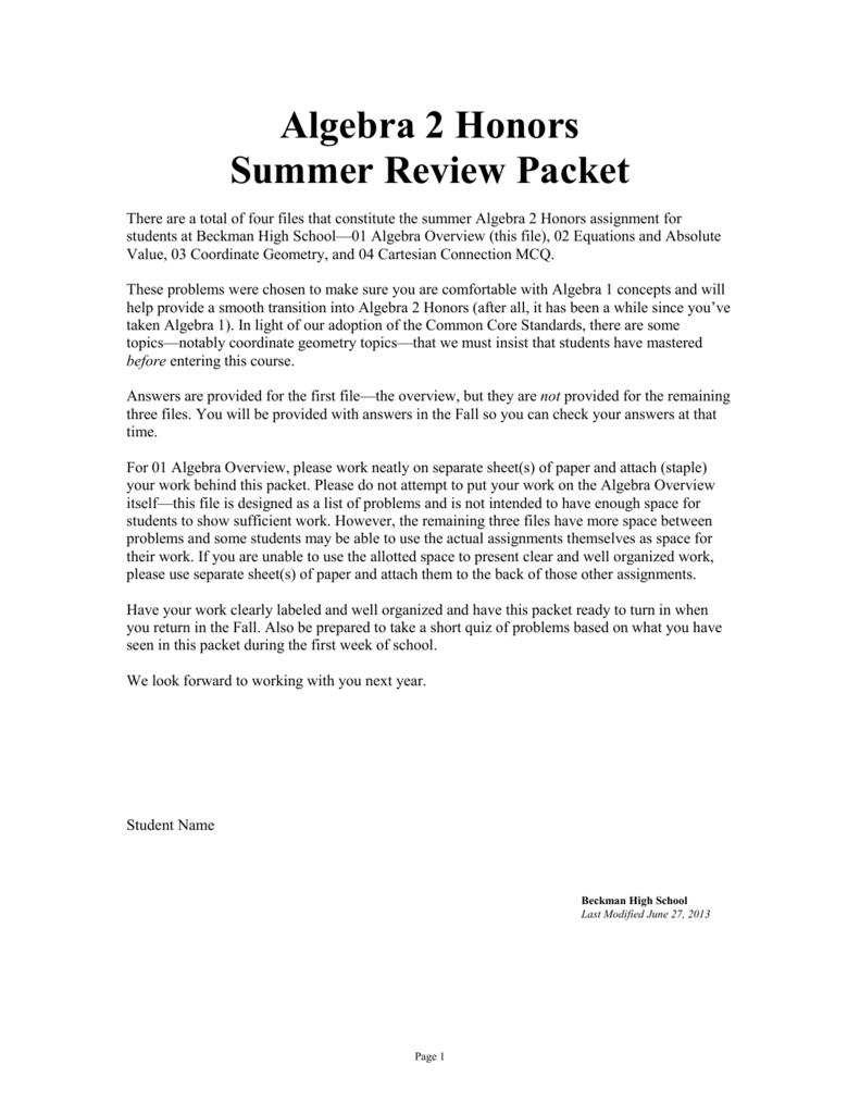 Algebra 2 Review Packet