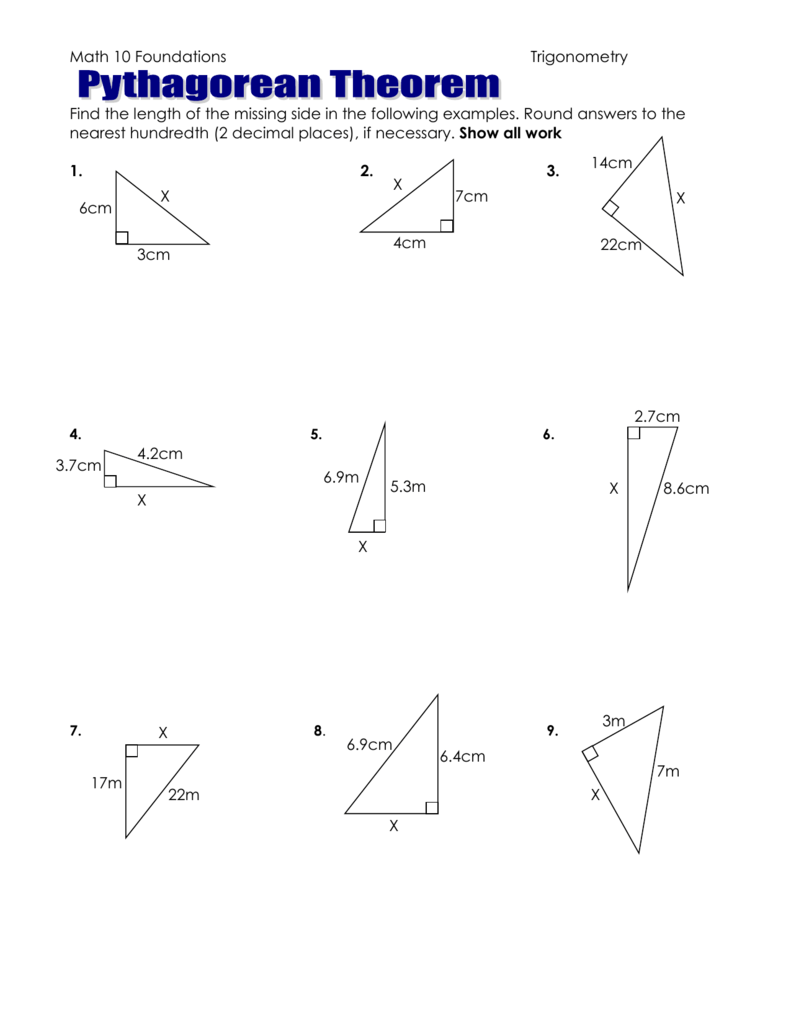 Pythagorean Theorem Worksheet To Hand In
