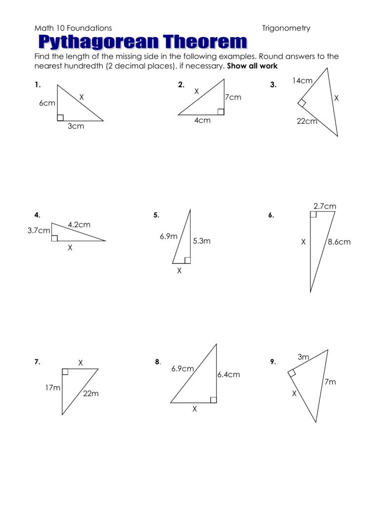 Pythagorean Theorem - worksheet to hand in