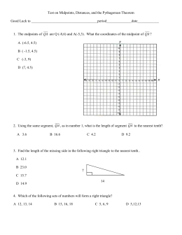 CTest on Midpoints, Distance, and Pythagorean Theorem