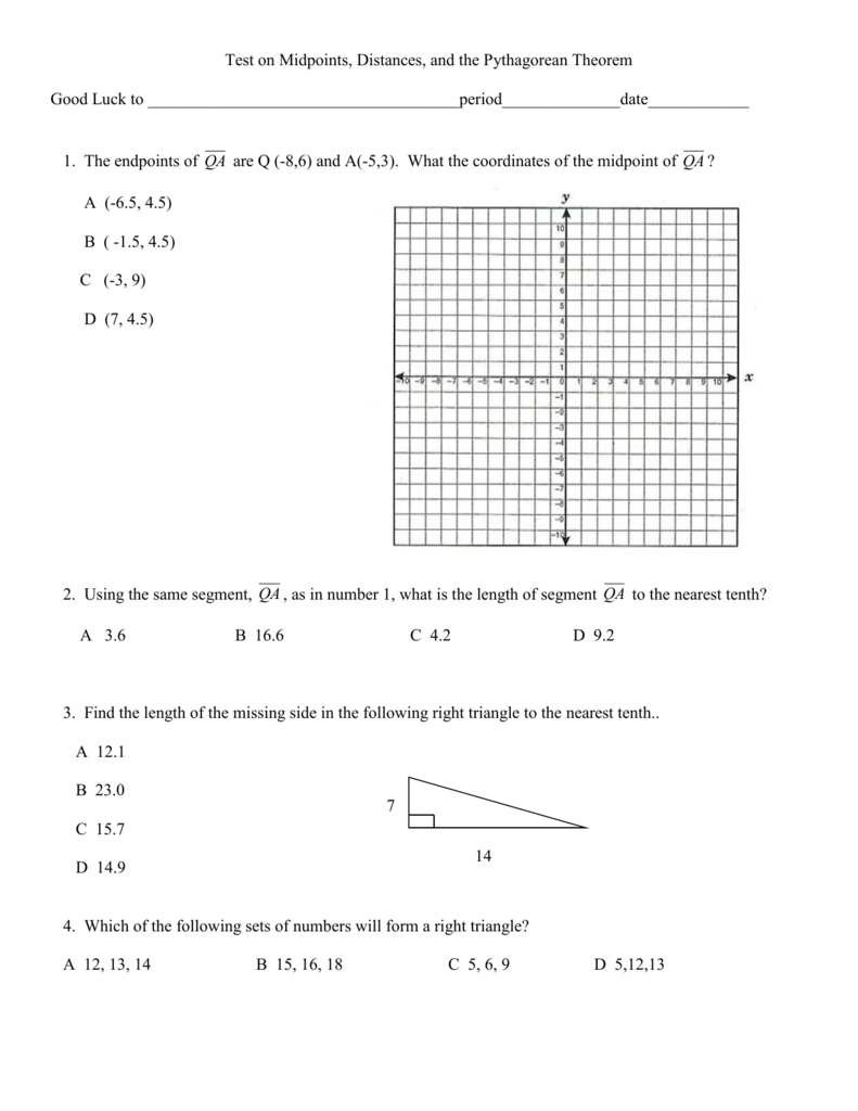 Worksheets Midpoint And Distance Worksheet ctest on midpoints distance and pythagorean theorem