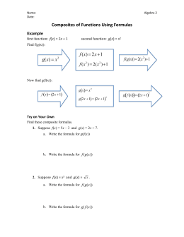 Composite Functions (Formulas) Homework Problems