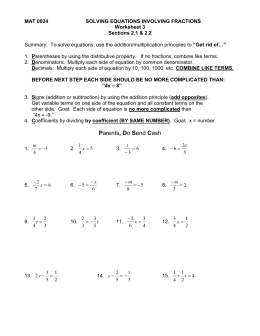 1: solving equations involving fractions