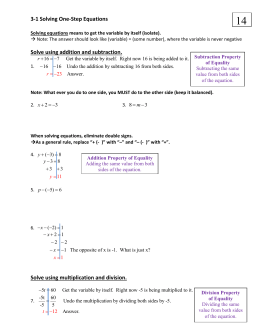 3-1/3-2 Solving 1 Step Equations (Add/Sub/Mul/Div)