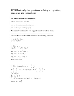 1078 Basic Algebra questions: solving an equation and equalities