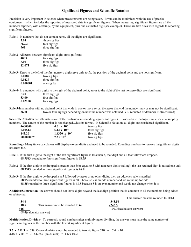 worksheet Calculations Using Significant Figures Worksheet Answers scientific notation and significant figures math