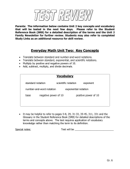 Everyday Math Unit One: Key Concepts