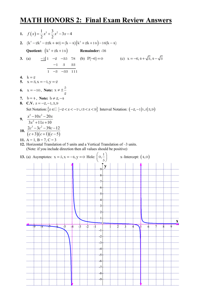 Answers - Math Honors 2