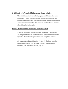 Newtons Divided Difference Polynomial Textbook Notes