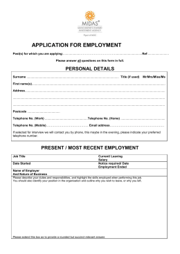 MIDAS Application Form