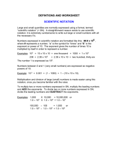 scientific notation worksheet