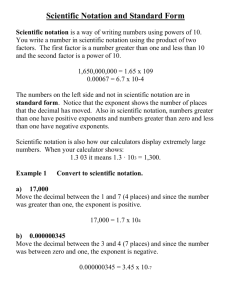 Scientific Notation and Standard Form