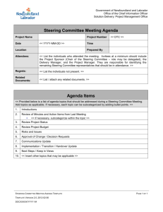 Steering Committee Meeting Agenda - Office of the Chief Information
