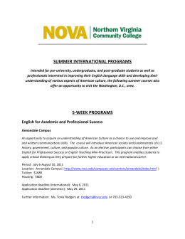 SUMMER INTERNATIONAL PROGRAMS Intended for pre
