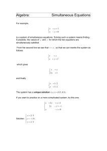 Algebra: Simultaneous Equations