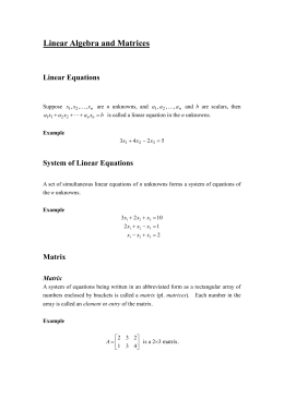 ULinear Algebra and Matrices