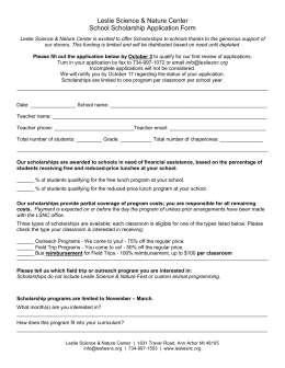 Leslie Science & Nature Center School Scholarship Application