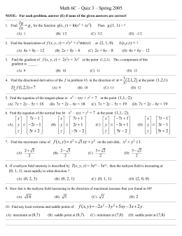 Math 6C - Chapter 12 Quiz - SOLUTIONS