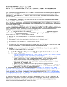 TUITION AND ENROLLMENT AGREEMENT