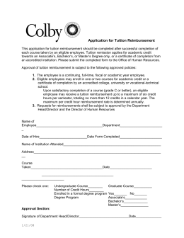 Colby Application for Tuition Reimbursement