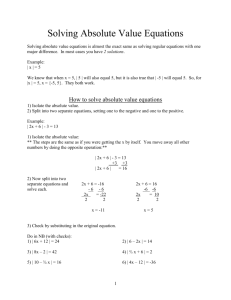 alg1 NOTES Solving Absolute Value Equations and Inequalities
