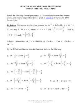 Lesson 5 Derivatives of the Inverse