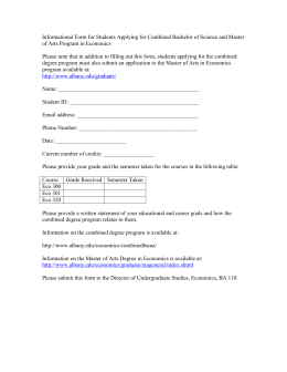 Informational Form for Students Applying for Combined Bachelor of