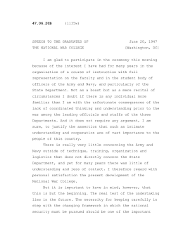 SPEECH TO THE GRADUATES OF June 20, 1947