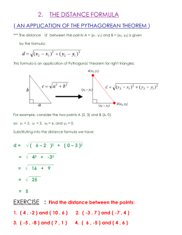 *** The distance `d` between the points A = (x1, y1) and B = (x2, y2
