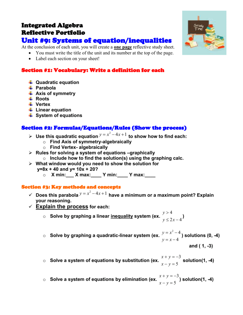 worksheet Systems Of Equations And Inequalities portfolio unit 7 linear equationsinequalities in 2 variables