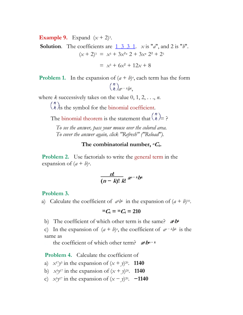 Worksheet Binomial Theorem Worksheet alg2 march28 the answers