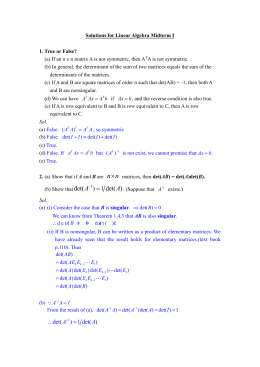 Solutions for Linear Algebra Midterm I